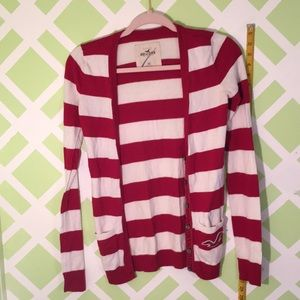Hollister red striped Cardigan